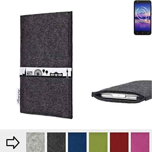 flat.design für Alcatel U5 HD Single SIM Schutztasche Handy Hülle Skyline mit Webband Wien - Maßanfertigung der Schutzhülle Handy Tasche aus 100% Wollfilz (anthrazit) für Alcatel U5 HD Single SIM