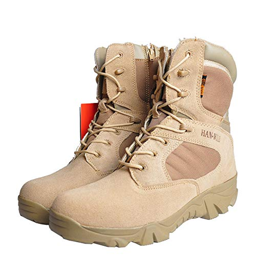 HSAWVE SHOES Scarpe da Trail Running Uomo Stivali da Combattimento Stivali Tattici Invernali da Uomo High Desert Boots Stivali Nudi-Beige-EU44/270mm/UK9.5