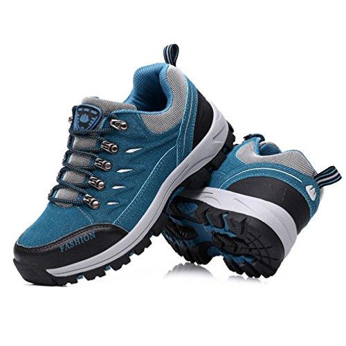 Dexuntong Unisex Scarponi da Trekking Escursionismo Sneakers Scarpe Antiscivolo Scarpe da Montagna Allaperto Arrampicata Sportive Scarpe35-44 Blue
