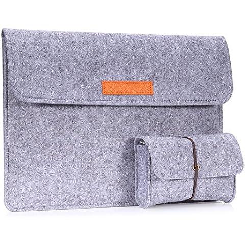 MoKo Funda de Fieltro 10-11 Pulgadas - Sleeve Bag Maletín de Carpeta Cover Case para Microsoft Surface 3 2015 / Nuevo Apple MacBook 2015 Laptop con Card Slot, Bolsillo - Gris Claro