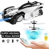 SGILE Ferngesteuertes Auto & RC Fliegender Ball mit Mini Fernbedienung, Flying Ball RC Wand Klettern Spielzeugauto mit LED Lichtern, Ideales Spielzeugset für Kinder Kindergeschenk