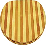 sanicomfort-Sedile WC in bambù a righe, precisione dimensionale universale, 1846396