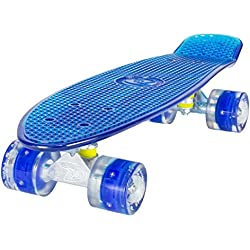 LAND SURFER® Skateboard Cruiser Retro Completo 56cm con tabla coloreada transparente - cojinetes ABEC-7 - Ruedas que se iluminan 59mm PU + bolsa para el transporte - Tabla Azul Transparente/Ruedas Azules LED