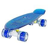 LAND SURFER® Retro Cruiser, komplettes Skateboard mit durchsichtigem 56-cm-Deck - ABEC-7-Kugellager - PU-LED-Räder (59 mm), die bei Bewegung aufleuchten + Tragetasche - Klares Deck BLAU/BLAU LED