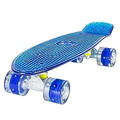 Idea Regalo - LAND SURFER® Skateboard Cruiser Retro Completo 56cm con tavola blu trasparente - cuscinetti ABEC-7 - Ruote blu LED che si illuminano 59mm PU + borsa per il trasporto