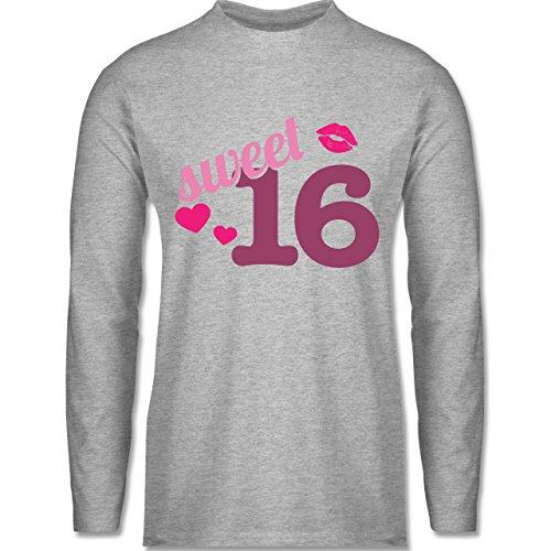 Geburtstag - Sweet 16 - Longsleeve / langärmeliges T-Shirt für Herren Grau Meliert
