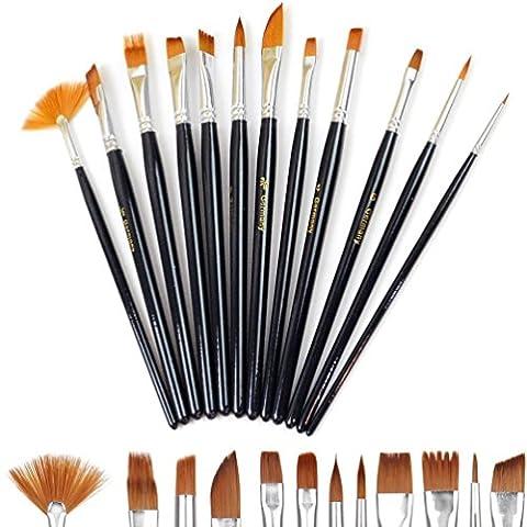 Doutop Brosse de Peinture Pinceaux Peinture Artiste professionnel multifonctions Nylon cheveux Peinture Pinceaux pour Peinture (Gloss Olio)