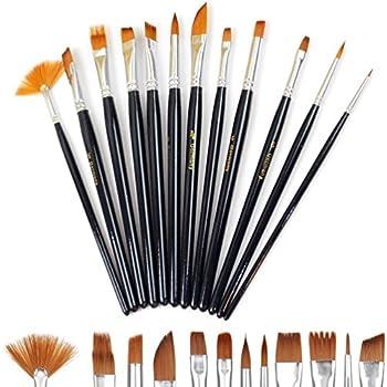 ZARRS 12pcs Paint Brushes Set Pinsel Kunst Malerei K/ünstler Pinsel f/ür Acryl Aquarell /Ölgem/älde