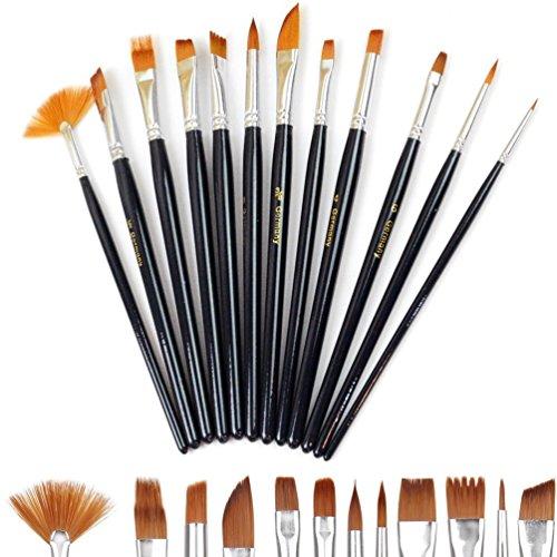 Doutop Pinselset Künstler Malen Pinsel Set Aquarell Acryl Flachpinsel Ölmalpinsel für Malerei Ölmalerei Ölfarben Bürste 12stk (Acryl-gouache-malen)