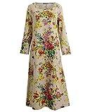 Romacci Damen Vintage Maxi Blumenkleid mit Langen Ärmeln Baumwolle Leinen lose Kleid Dress