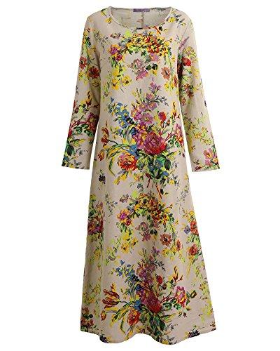 Romacci Damen Vintage Maxi Blumenkleid mit Langen Ärmeln Baumwolle Leinen Lose Kleid Dress, Grau, XXL -