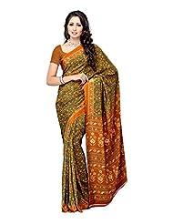 Ambaji Brown Crepe Printed Saree Sari Sarees
