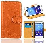 Sony Xperia M4 Aqua Handy Tasche, FoneExpert® Wallet Case Flip Cover Hüllen Etui Ledertasche Lederhülle Premium Schutzhülle für Sony Xperia M4 Aqua (Orange)