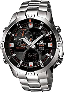 Casio EMA-100D-1A1VEF Edifice Men's Quartz Watch with Black Dial Analogue - Digital Display and Silver Stainless Steel Bracelet