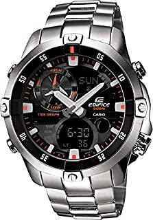 Casio EMA-100D-1A1VEF Edifice Men's Quartz Watch with Black Dial Analogue - Digital Display and Silver Stainless Steel Bracelet (B00BFN30DK) | Amazon price tracker / tracking, Amazon price history charts, Amazon price watches, Amazon price drop alerts