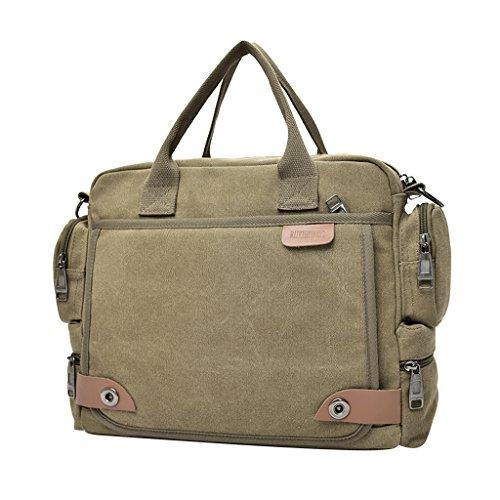 Gazechimp Vintage Umhängetasche Herren Schultertasche Messenger Bag Aktentasche Freizeit Handtasche Mode Messengertasche Khaki