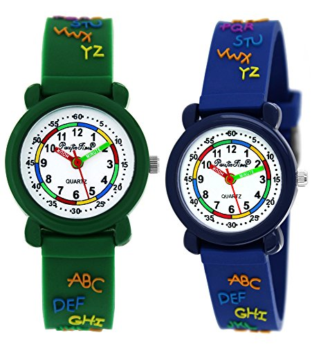 Pacific Time First 2 x Kinder-Armbanduhr Lernuhr ABC Jungen Mädchen Armbanduhr Einschulung Silkonarmband Analog Quarz blau grün Sparset 862952