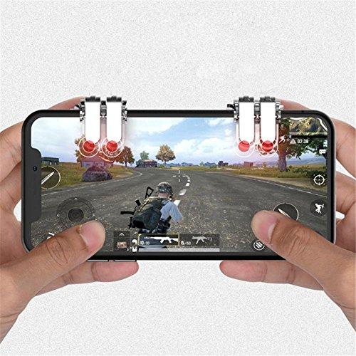 Anna-neek Controlador de Juego Móvil, 2018 PUBG Mando de Juegos móvil Gatillos para Disparar y Apuntar Sensibles para, Joystick Gamepad para Jugar en Android iOS Silver