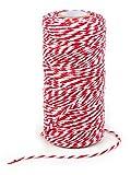 VBS Großhandelspackung 100 m Baumwollkordel, Rot-Weiß