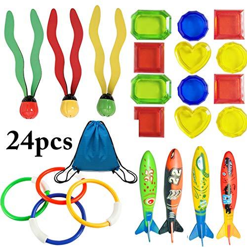 FunPa Tauchen Spielzeug, 24 Stück Tauchspielzeug Unterwasser Schwimmbad Spielzeug Set Ringe,Algen,Toypedo Bandits,Edelsteine Set für Tauchanfänger zum Badewanne Swimmingpools Geschenk für Kinder