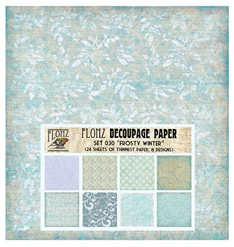 Decoupage Paper Pack (24 Sheets 16x16cm) Frosty Winter Ice Patterns FLONZ Vintage Styled Paper for Decoupage and Craft