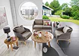 Dreams4Home Lounge Set 'Miami' 4-teilig Loungesessel Rattan Tisch rund Sofa Polster