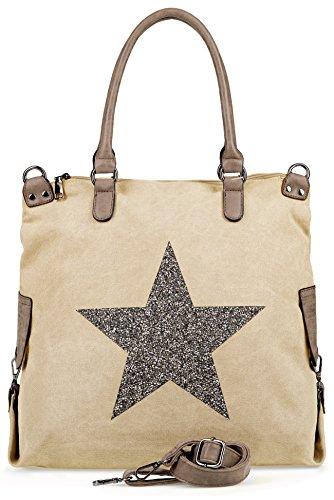 NavyBlu® Damen vintage Schultertasche Canvas Tasche mit Stern Handtasche Umhängetasche Henkeltasche E11-7