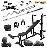 KORE 50KG COMBO 35-WB HOME GYM WITH 8 IN 1 MULTIPURPOSE BENCH