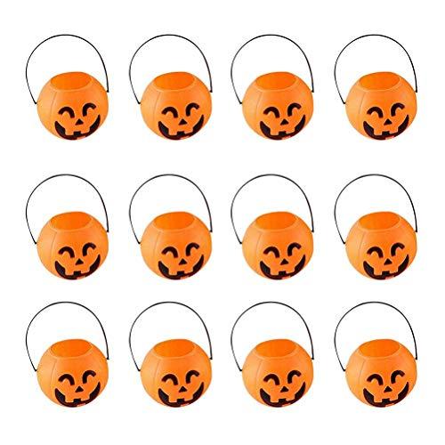 VADOO Kürbis Süßigkeiten Taschen Eimer Halter Tragbare Handtasche Halloween Süßes Oder Saures Kürbis Süßigkeit Eimer Pack von 12 (lächelnde ()
