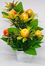 Ethnic Karigari Plastic, Cloth and Clay Artificial Fruits Flower Vase, Small(Multicolour, EK-3511194)