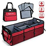 ROYI Upgraded Car Trunk Organizer Collapsible Portable Cargo Storage With Tools Grips 3 Large Compartments And Upgraded Handle Trunk Organizer Compatible with SUV Car Truck Auto