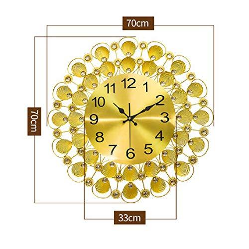 aimeishi Große 3D Kristall Diamant Metall Wanduhr Modernes Design Wohnzimmer Shell Aufkleber Transparent Wohnkultur @ 70X70Cm F -