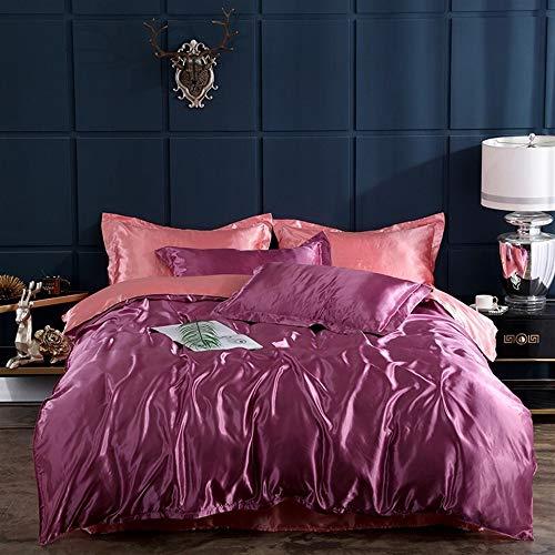 UOUL Bettwäsche Set Ice Silk Bettwäsche 4 Stück Rosa Lila Solide Verblasst Nicht Komfort Männer Und Frauen Schlafzimmer Weich Und Rutschig Königin,Purple pink,King -