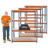 Mega Deal | Set aus 3x Schwerlastregal (Tiefe 60 cm) | Fachlast 300 kg pro Fachboden | Metallregal Kellerregal Lagerregal Werkstattregal Garagenregal |Belastbar mit 1200 kg