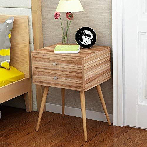 YueQiSong Nordischer Nachttisch Einfacher Moderner Massivholzbeine Kleiner Schrank Einfacher Speicherschrank Wirtschaftschlafzimmer Nachttisch, Eiche, 2 darwer - 2 Schubladen Naturholz-nachttisch