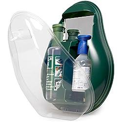 MedX5 ducha ocular de emergencia, producto para el lavado de ojos con suero fisiológico (0,9%) y solución tamponada BioPhos74, estación de lavado ocular con espejo, producto de lavado ocular, solución para el lavado ocular, producto para lavar los ojos, botella de solución para el lavado ocular