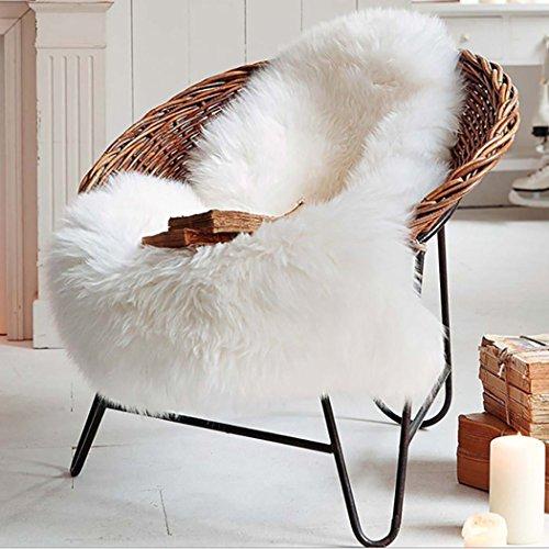 Natur-Fell-Shop–Alfombra, piel de oveja cordero imitación piel sintética Deko piel, pelo largo piratería. Lana cama Alfombrilla sofá Matte 60x 90cm blanco Weiß