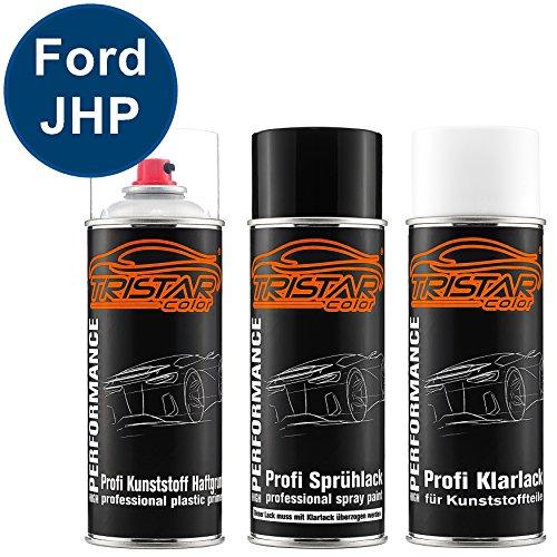 Preisvergleich Produktbild Autolack Spraydosen Set für Kunststoff Stoßstange Ford JHP Royal Blue Haftgrund Basislack Klarlack mit Weichmacher Sprühdose