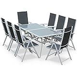 Alice's Garden - Salon de jardin en aluminium et textilène - Naevia - Gris, Blanc - 8 places - 1 grande table rectangulaire, 8 fauteuils pliables