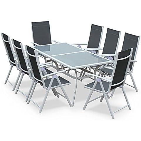 Alice's Garden - Conjunto de mesa y sillas de jardín de aluminio y textileno - Blanco/gris - 8 plazas, una grande messa y 8 sillas apilables - NAEVIA