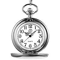 sibosun clásico Lisa Vintage plata para hombre cuarzo reloj de bolsillo con cadena