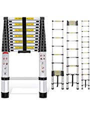 EQUAL Portable and Compact 7-Steps Telescopic Foldable Aluminium Anodized Silver Ladder (200 cm, 6.6 ft)