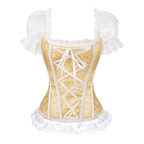 bustier Straps Corsetto in pizzo in Raso Con Nastri e balze in Satin Arco Per la Scelta Cerniera corsetto top Donne Yellow