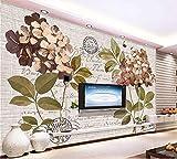 Muraon HD Wandbild 3D Wallpaper Fototapete benutzerdefinierte Größe Wohnzimmer Wandbild Retro Hortensie 3D Malerei Bild Sofa TV Hintergrund Wandaufkleber, 200x140 cm (78.7 by 55.1 in)