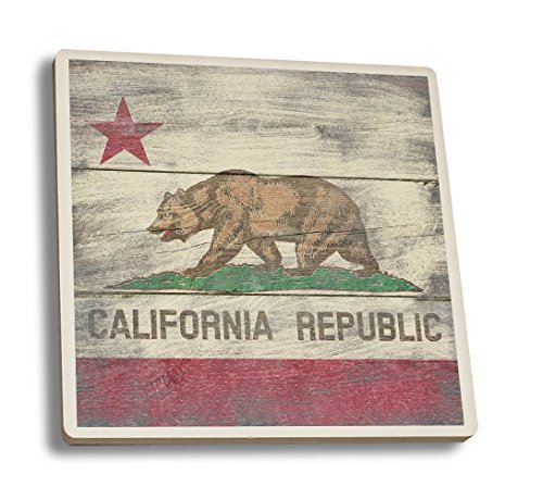 California State Flag - Barnwood Painting (Set of 4 Ceramic Coasters - Cork-backed, Absorbent) by Lantern Press Cork Coaster Set