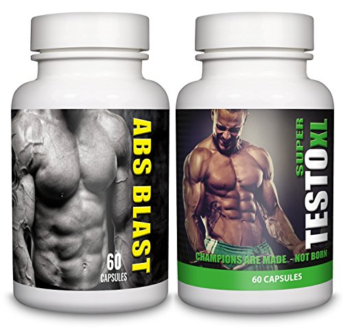 ABS BLAST & SUPER TESTO XL– 1-month Supply – Tribulus Terrestris, Testosterone Support, Fat Burner – Sports Nutrition Supplement for Men by Natural Answers