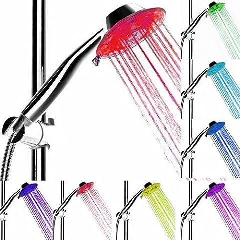 FOME automático Control Sensor de temperatura LED Spray de mano alcachofa de ducha + FOME regalo 7 Color, SDS-A3