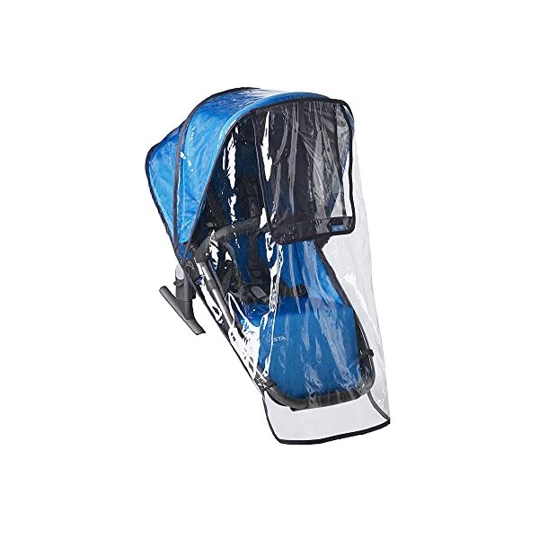 UPPAbaby Rumbleseat Rainshield UPPAbaby Custom fit on the rumble seat while in use on the vista Easy Velcro attachments keep rain shield in place Made of durable, phthalate free plastic 1