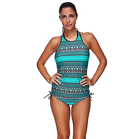 LOVER-BEAUTY Girls Vintage Green Halter Neck Push Up Swimwear With Padded Two Piece Tankini Top Swimsuit