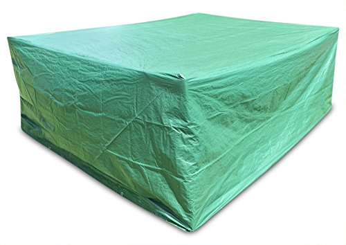 Große Abdeckung Gartenmöbel Schutzhülle Gartenmöbel und Abdeckplane für rechteckige Sitzgarnituren, Gartentische und Möbelsetsl 278cm x 204cm x 106cm (Kunststoff-stuhl Gleitet)